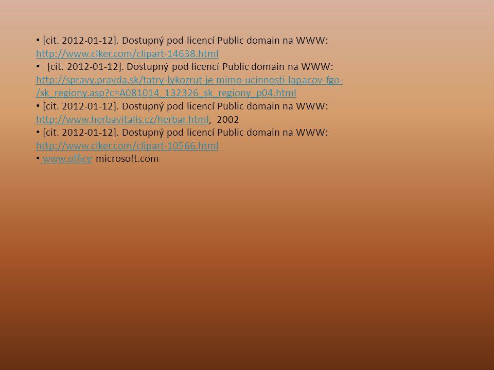 [cit. 2012-01-12]. Dostupný pod licencí Public domain na WWW: http://www.clker.com/clipart-14638.html